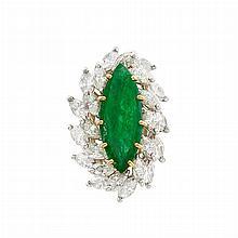 Platinum, Gold, Emerald and Diamond Ring