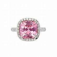 Platinum, Pink Tourmaline and Diamond Ring