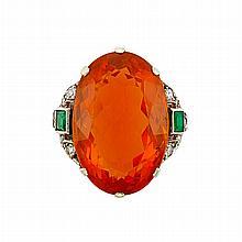 Palladium, Fire Opal, Emerald and Diamond Ring