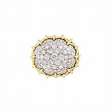 Two-Color Gold and Diamond Bombe Ring
