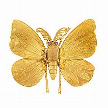 Gold Butterfly Scarf Clip, Mario Buccellati
