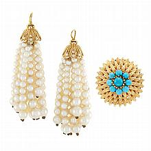 Gold and Turquoise Ring and Pair of Gold, Diamond and Cultured Pearl Fringe Pendants