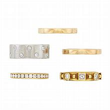 Platinum and Diamond Band Ring and Two Gold and Diamond Band Rings and Pair of Gold Band Rings