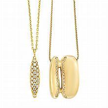 High Karat Gold and Diamond Pendant with Gold Chain and Rose Gold and Diamond Pendant with Chain