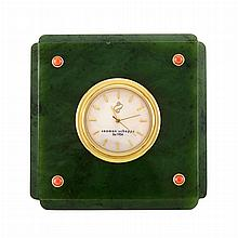 Nephrite, Mother-of-Pearl, Gilt-Metal and Coral Desk Clock, Seaman Schepps