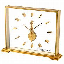 Brass and Plexiglass 'Inline-Bridge' Desk Clock, Jaeger-LeCoultre