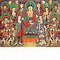 Korean School 19th Century Buddha, attendants and devotees