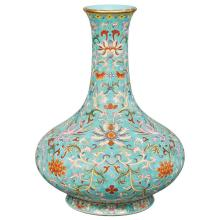 Chinese Turquoise Ground Famille Rose Glazed Porcelain Vase