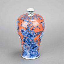 Chinese Blue, White and Iron Red Glazed Porcelain Vase