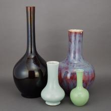 Group of Four Chinese Monochrome Porcelain Vases