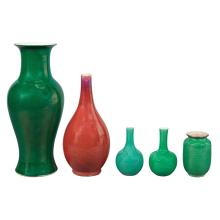 Group of Four Chinese Green Glazed Porcelain Vases; Together with a Chinese Flambe Glazed Bottle Vase