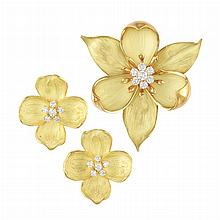 Gold and Diamond Flower Brooch and Pair of Earrings, Tiffany & Co.