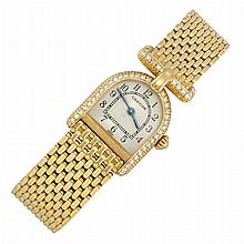 Lady's Gold and Diamond 'Calandre' Wristwatch, Cartier, Paris