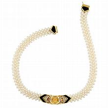 Cultured Pearl Mesh, Gold, Citrine, Diamond and Black Onyx Necklace, Marina B, France