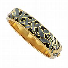 Gold, Hematite, Black Onyx and Mother-of-Pearl Bangle Bracelet, Tiffany & Co.