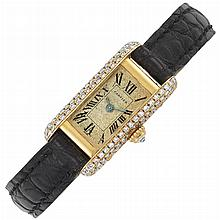 Gold and Diamond 'Mini-Tank' Wristwatch, Cartier, Paris