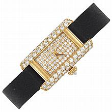 Gold and Diamond 'Mini-Tank' Wristwatch, Cartier, France