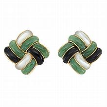 Pair of Gold, Aventurine Quartz, Mother-of-Pearl and Black Onyx Earrings, Angela Cummings