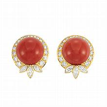Pair of Gold, Coral and Diamond Earclips, by Marvin Schluger