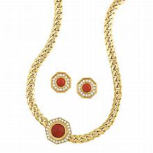 Gold, Coral and Diamond Curb Link Chain Necklace and Pair of Earrings