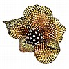 Yellow and Orange Sapphire and Diamond Flower Pendant Clip-Brooch