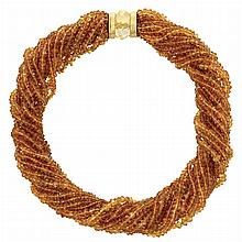 Multistrand Citrine Bead Torsade Necklace with Gold and Citrine Bead Clasp