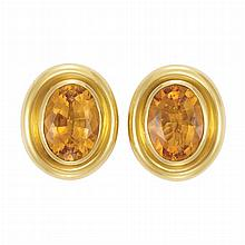 Pair of Gold and Citrine Earclips, Tiffany & Co., Paloma Picasso