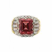 Two-Color Gold, Pinkish-Orange Spinel and Diamond Ring, Buccellati