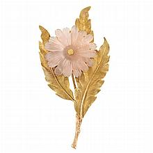Gold and Carved Rose Quartz Flower Clip-Brooch, Mario Buccellati