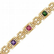 Gold and Multicolored Gem-Set Bracelet, by Marvin Schluger