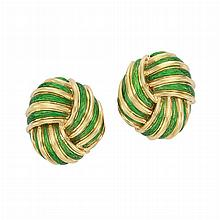 Pair of Gold and Green Paillonne Enamel Earclips, Tiffany & Co.