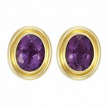Pair of Gold and Amethyst Earclips, Tiffany & Co., Paloma Picasso