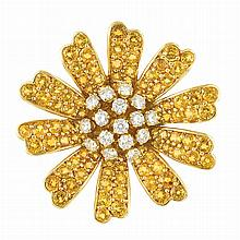 Gold, Yellow Sapphire and Diamond Flower Brooch, Jean Vitau