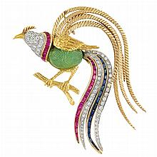 Gold, Platinum, Carved Emerald, Diamond and Gem-Set Bird Clip-Brooch