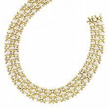Gold, Diamond and Cultured Pearl Necklace, Tiffany & Co., France