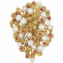 Gold, Cultured Pearl and Ruby Clip-Brooch, Tiffany & Co.