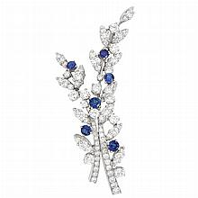 Platinum, Diamond and Sapphire Brooch, Tiffany & Co.
