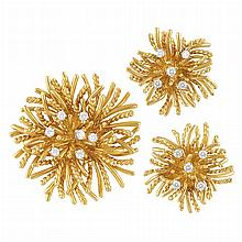 Gold and Diamond Flower Clip Pendant-Brooch and Pair of Earrings, Tiffany & Co.