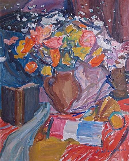 Emile Sabouraud French, 1900-1996 Still Life with Flowers and a Book