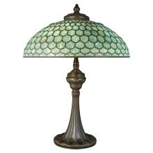 Tiffany Studios Bronze and Favrile Opalescent Glass Geometric Library Lamp