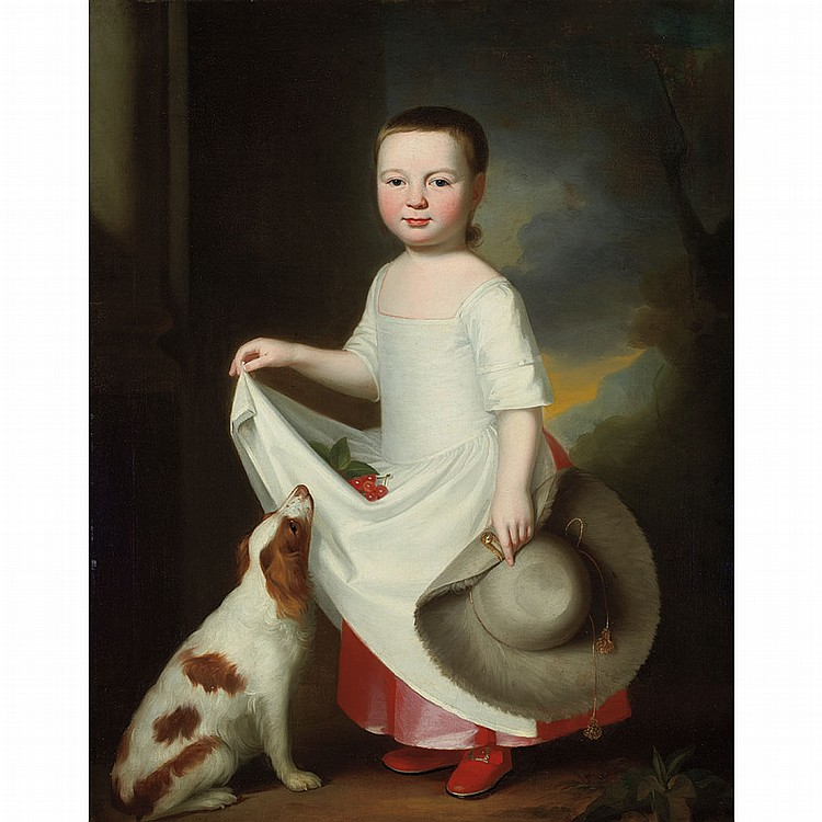 George Romney British, 1734-1802 Girl with a Dog, Holding a Bonnet, with Cherries in Her Apron   Oil on canvas 4...