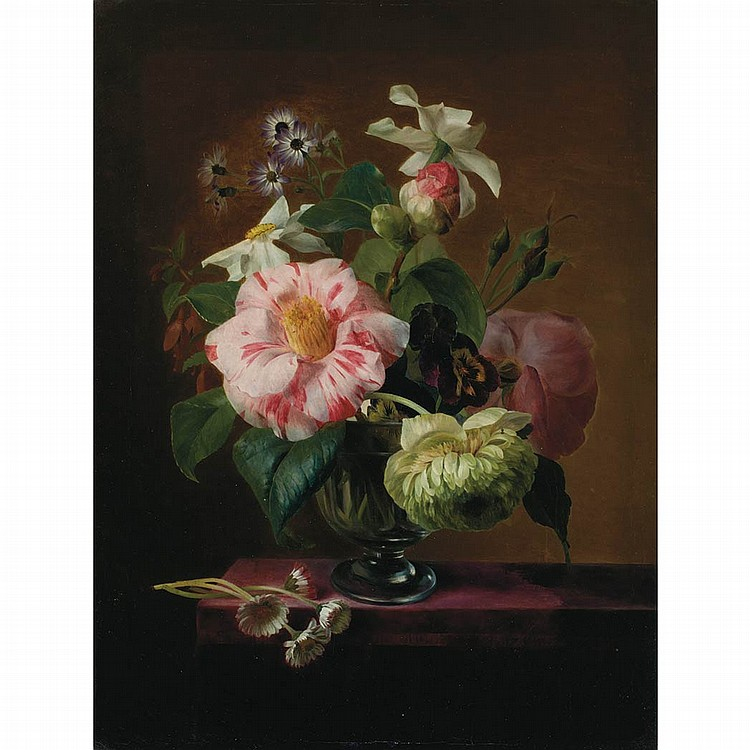 Attributed to E. Agathe Pilon Still Life of Flowers in a Crystal Vase on a Table Top