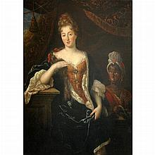 Attributed to Sir Godfrey Kneller The Duchess of Portsmouth with an Attendant Carrying a Jewel Box