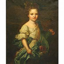 Flemish School 17th/18th Century Portrait of a Young Girl as Flora