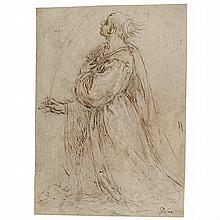 Jacopo Palma, called Il Giovane Italian, 1544-1628 A Study of Saint Giustina Kneeling with a Martyr's Palm