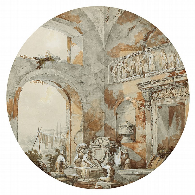 Charles-Louis Clerisseau French, 1722-1820 Washerwomen in the Ruins of the Roman Bath, 1766