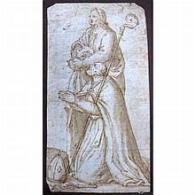Follower of Martin Schongauer St. Boniface Kneeling, accompanied by St. John the Evangelist