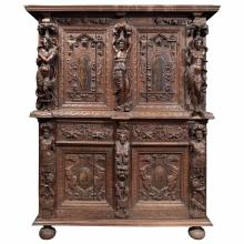 French Renaissance Style Walnut and Penwork Cupboard
