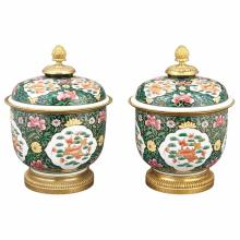 Pair of Louis XVI Style Gilt-Metal Mounted Porcelain Covered Urns