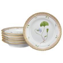 Set of Six Royal Copenhagen Flora Danica Porcelain Bread Plates